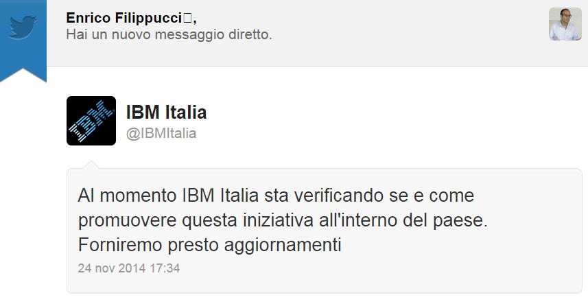 IBM Italia ti ha inviato un messaggio diretto su Twitter