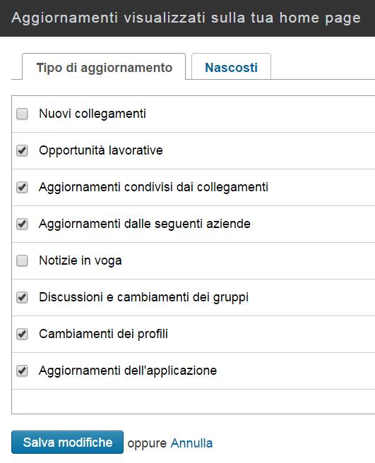 LinkedIn Impostazioni degli Aggiornamenti