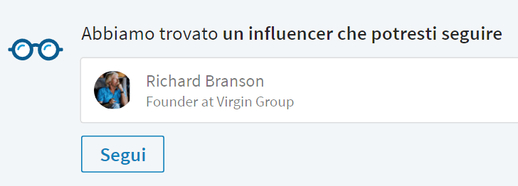 Notifiche di influencer da seguire in home page