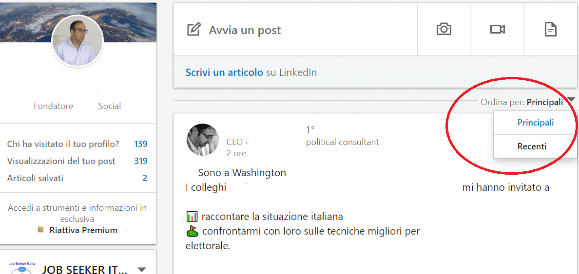 Aggiornamenti nella home page di Linkedin