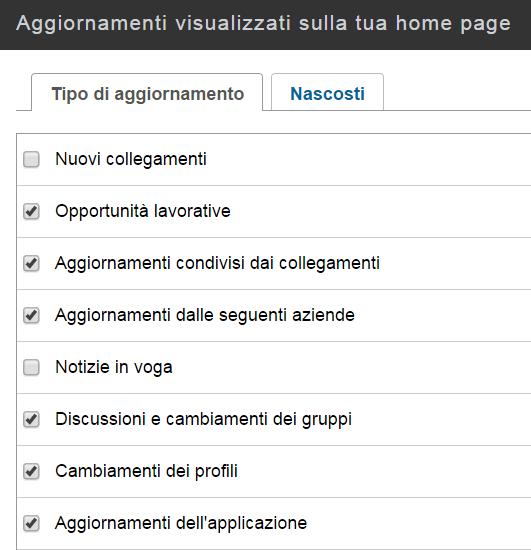 impostazioni della home page