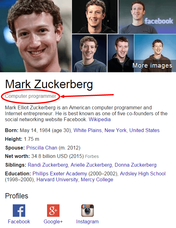 Mark Zuckerberg Google Search