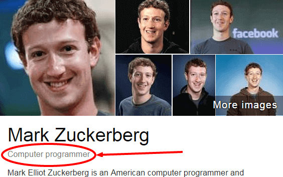 Mark Zuckerberg - Computer programmer in Google search.
