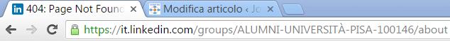 Errore 404 della pagina di descrizione del gruppo.