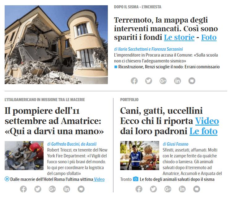 Sito Corriere della Sera 1° settembre 2016 terremoto Lazio