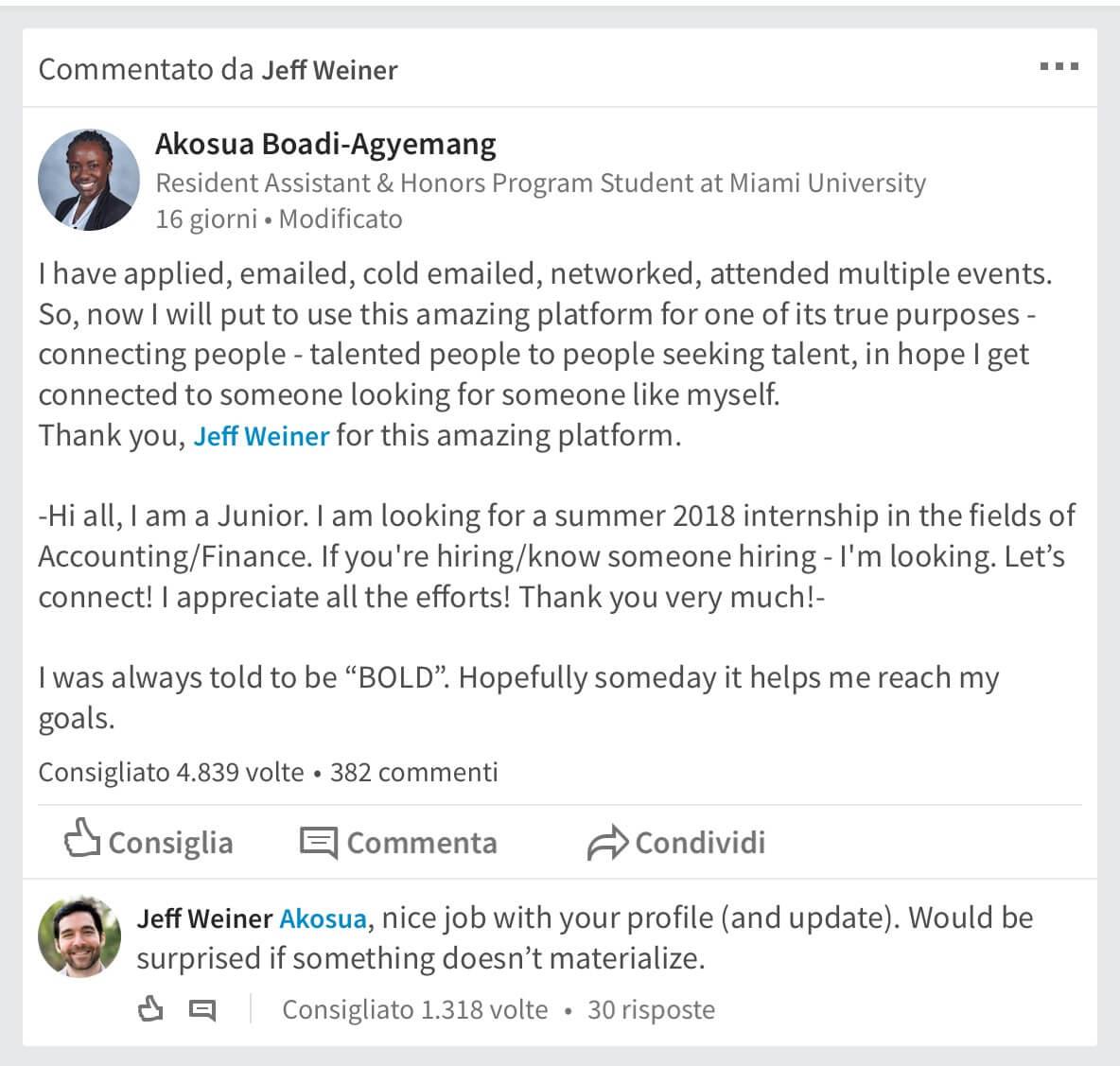 Esempio di Autocandidatura di successo su Linkedin