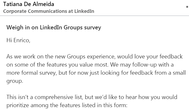 Messaggio che mi è arrivato dalla Corporate Communication di Linkedin