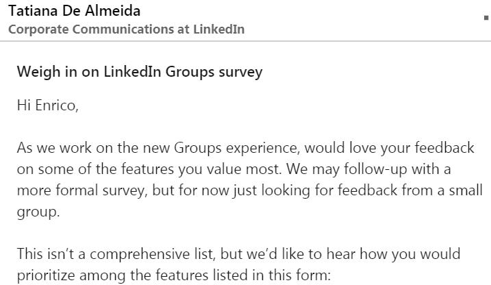 Messaggio che mi è arrivato dalla Corporate Communication di Linkedin