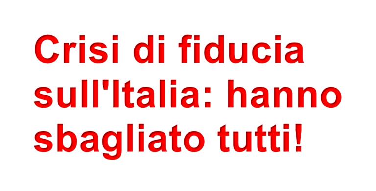 Crisi di fiducia sull'Italia