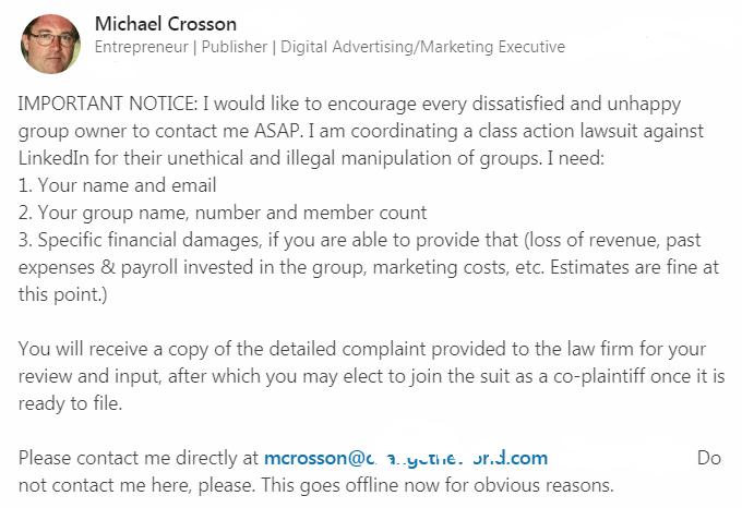 Annuncio avvio Class action proposta da uno dei proprietari dei gruppi contro Linkedin
