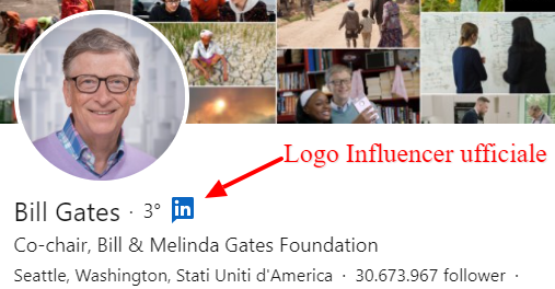 Profilo di Bill Gates come influencer ufficiale di LinkedIn